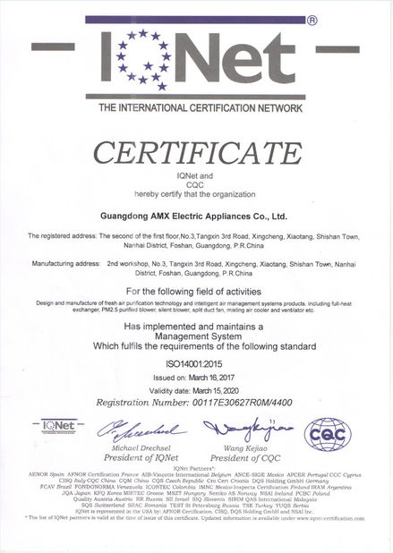 Porcellana GUANGDONG AMX ELECTRIC APPLIANCES CO., LTD. Certificazioni